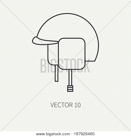 Line flat vector military icon - army helmet. Army equipment and weapons. Cartoon style. Army. Assault. Soldiers. Armament. Ammunition. Vector illustration and element for your design , wallpaper.