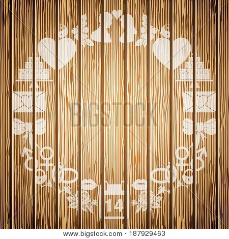 Frame of the elements of Valentines Day on the background textured wood. Vector illustration