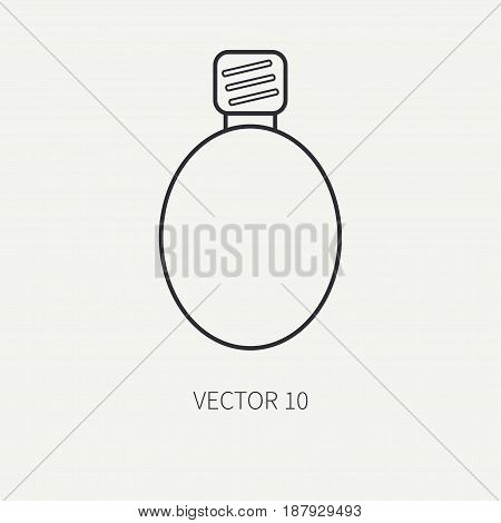 Line flat vector military icon flask. Army equipment and weapons. Cartoon style. Army. Assault. Soldiers. Armament. Ammunition. Retro. War. Vector illustration and element for your design , wallpaper