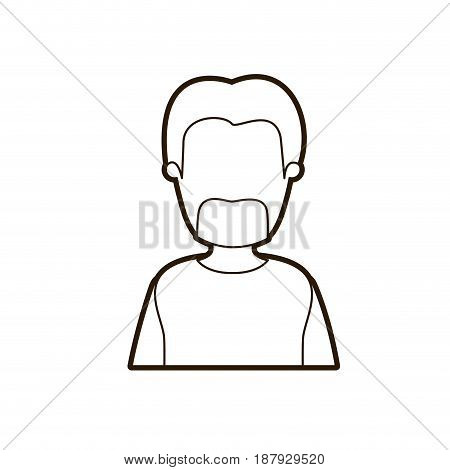black thick contour caricature faceless half body bearded man with coat vector illustration