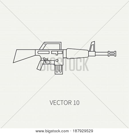 Line flat vector military icon - machine gun. Army equipment and weapons. Cartoon style. Army. Assault. Soldiers. Armament. Ammunition. Vector illustration and element for your design , wallpaper.