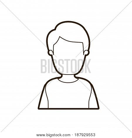black thick contour caricature faceless half body man with coat and hairstyle vector illustration