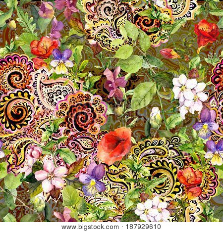 Seamless repeating floral pattern with decorative ethnic eastern ornament. Watercolour