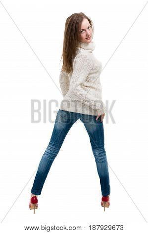 Pretty woman dressed for autumn, isolated white background in full length