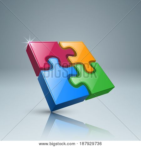 3d puzzle icon on the grey background.