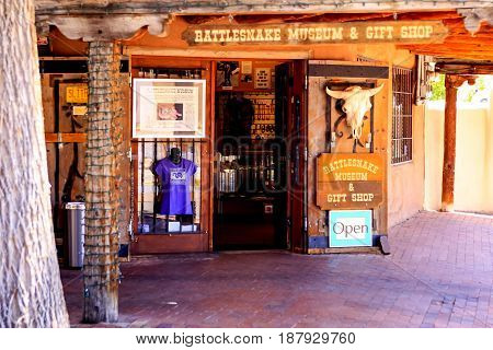 Albuquerque, NM, USA - 06/17/2015: The Rattle Snake Museum and Gift shop on San Felipe Street in Old Town Albuquerque in New Mexico