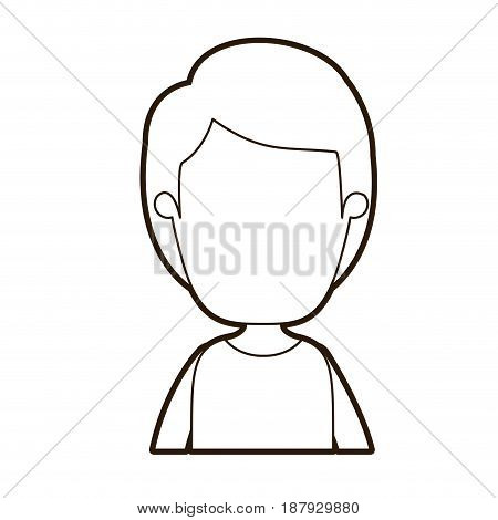 black thick contour caricature faceless front view half body boy with hairstyle vector illustration