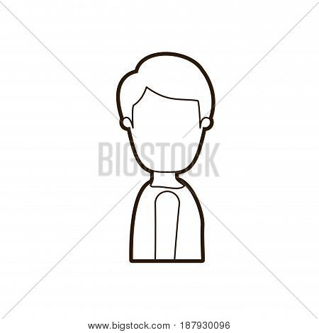 black thick contour caricature faceless side view half body young man with hairstyle vector illustration