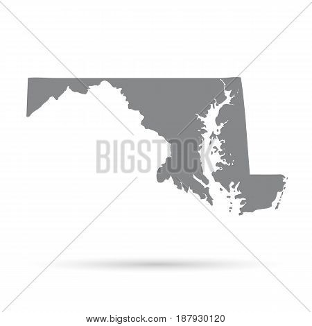 Map of the U.S. state of Maryland on a white background