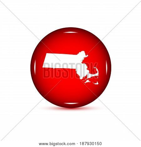Map of the U.S. state of Massachusetts. Red button on a white background.