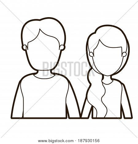 black thick contour caricature faceless front view half body couple woman with side ponytail hair and young man vector illustration