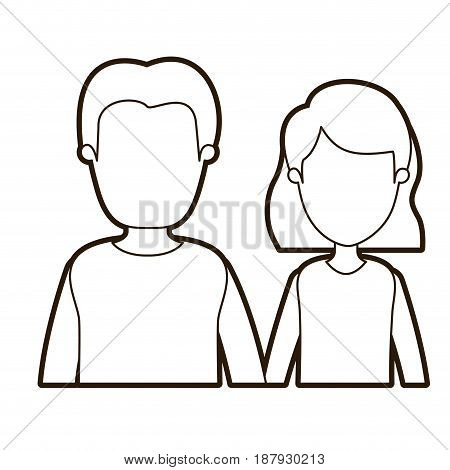 black thick contour caricature faceless half body couple woman with short hair and young man vector illustration