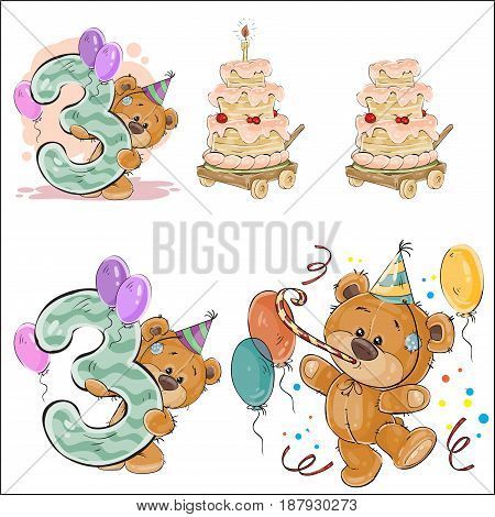 Set of vector illustrations with brown teddy bear, birthday cake and number 3. Prints, templates, design elements for greeting cards, invitation cards, postcards