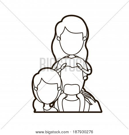 black thick contour caricature faceless half body family with mother and father with moustache and girl on his back vector illustration