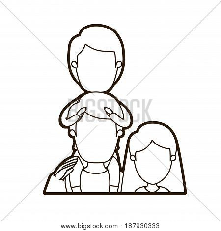 black thick contour caricature faceless half body family mother and father with boy on his back vector illustration