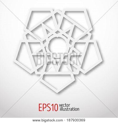 Sacral geometry symbol. White logo for web design