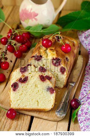 Sweet cherry cake with fresh cherries for dessert