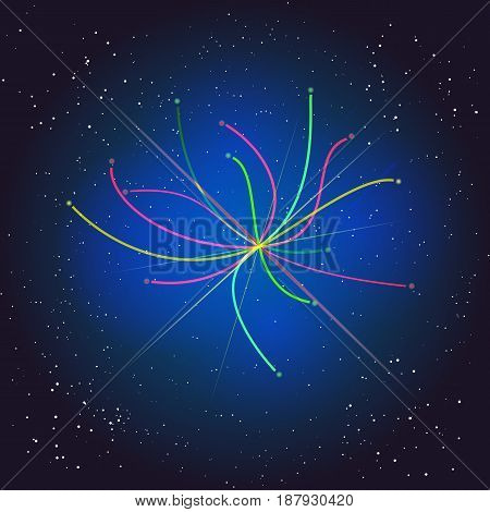 Voyage Beyond the Space. Boson Higgs, quantum mechanics. Big Bang illustration. Vector abstract cosmic background