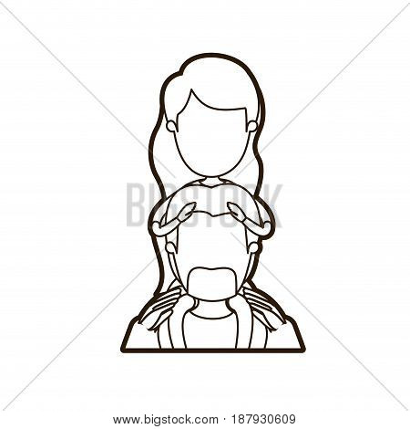 black thick contour caricature faceless front view half body bearded father with moustache and girl on his back vector illustration