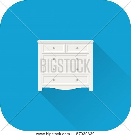 Chest of drawers icon. Vector. Flat design with long shadow. White bureau isolated on blue background. Furniture for bedroom.