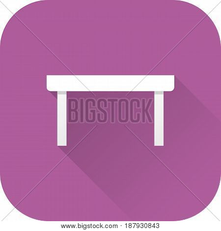Coffee table icon. Vector. Flat design with long shadow. White table isolated on violet background.