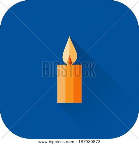 Candle icon. Vector. Flat design with long shadow. Orange candle isolated on blue background.