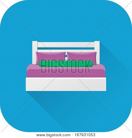 Double bed icon. Vector. Flat design with long shadow. Bed symbol isolated on blue background. Furniture for bedroom.
