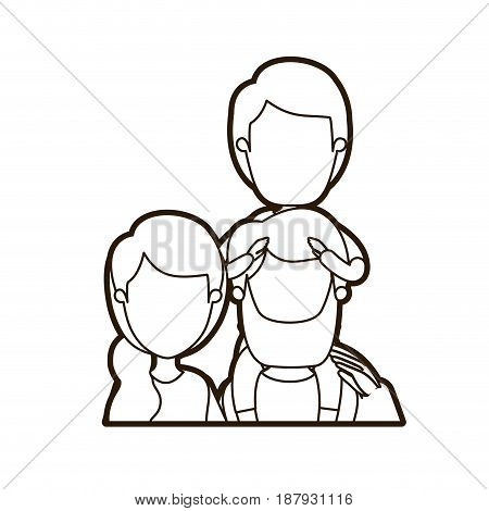 black thick contour caricature faceless front view half body family parents with boy on his back vector illustration