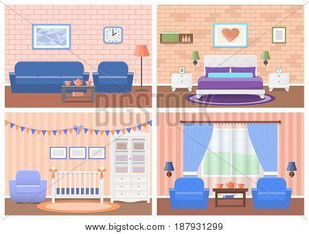 Rooms interiors. Vector furniture. Living room bedroom hotel baby room in flat design. Cartoon house equipment couch bed crib armchair table wardrobe lamps. Set of animated illustrations.