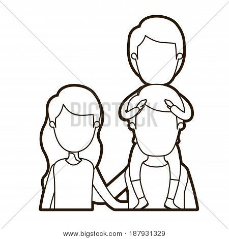 black thick contour caricature faceless front view half body young family parents with boy on his back vector illustration