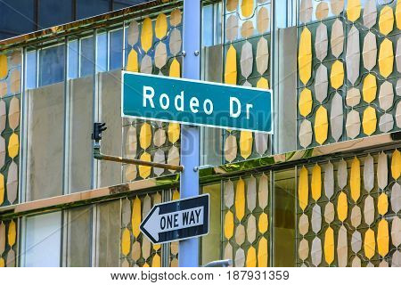 Beverly Hills, CA, USA - 07/01/2015:Rodeo Drive street sign in Beverly Hills California