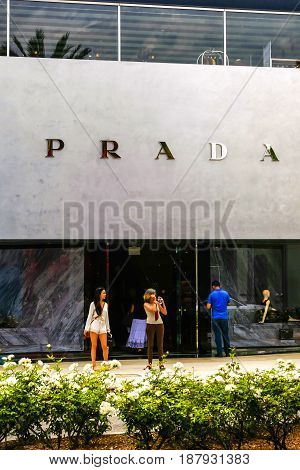 Beverly Hills, CA, USA - 07/01/2015: Prada store overhead sign on Rodeo Drive in Beverly Hills California