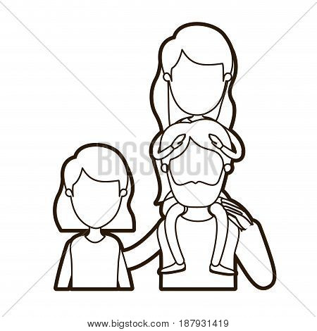 black thick contour caricature faceless front view half body family with short hair woman and bearded man with girl on his back vector illustration