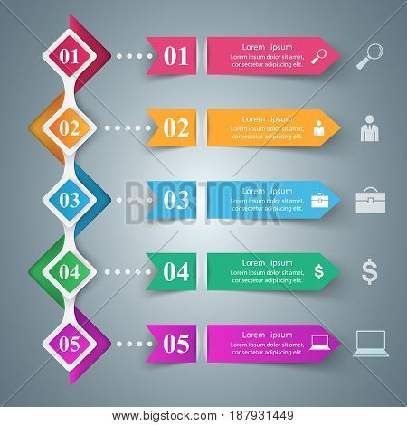 Business Infographics origami style Vector illustration. Marketing info.