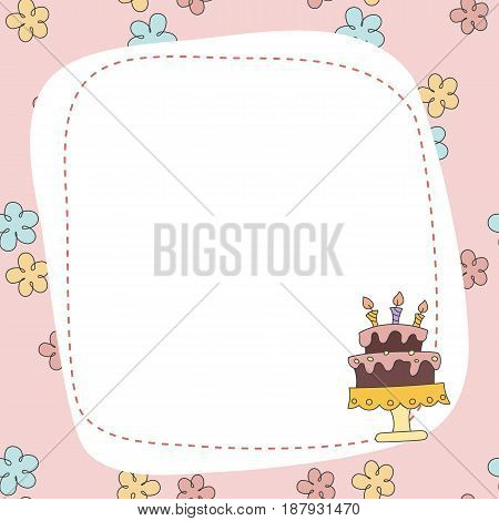 Greeting Card With Cartoon Cake.