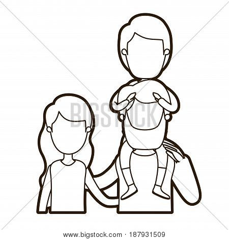 black thick contour caricature faceless front view half body family with wavy long hair woman and bearded man with boy on his back vector illustration