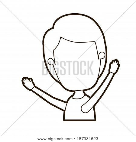 black thick contour caricature faceless side view half body boy with hands up vector illustration