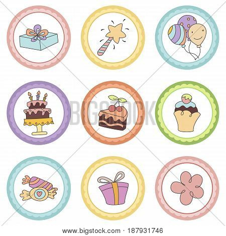 Set Of Tags With Birthday Theme.