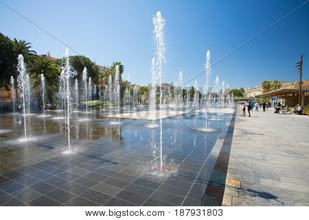 NICE FRANCE - April 22 2017: The fountains of the Promenade du Paillon in Nice France.
