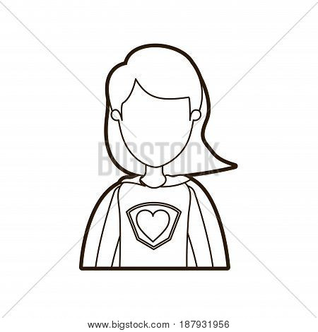 black thick contour caricature faceless half body super woman with short hair vector illustration
