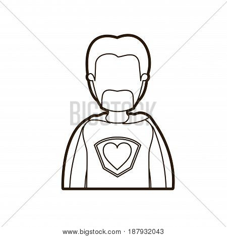 black thick contour caricature faceless half body super dad hero with beard vector illustration