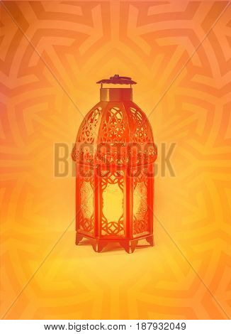 Beautiful Ramadan background with graphic Egyptian lantern. A poster template for Islamic festival.