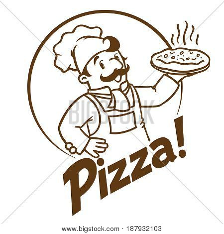 Emblem of funny cook or chef or baker with pizza and logo on background colors of the Italian flag. Monochrome version. Children vector illustration.