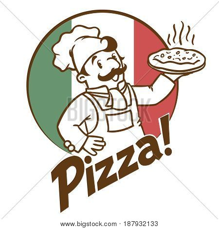 Emblem of funny cook or chef or baker with pizza and logo on background colors of the Italian flag. Monochrome and low color version. Children vector illustration.
