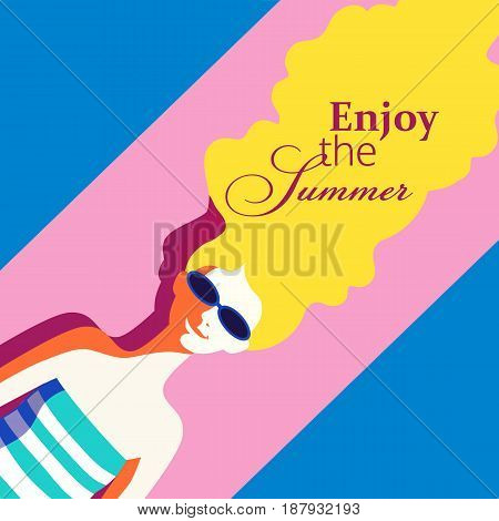 Summer recreation concept. Hand drawn retro poster in pop art style. Beach hot season fun and rest. Blondy girl laying on beach. Beautiful young woman in sun glasses. Vector summer holiday background