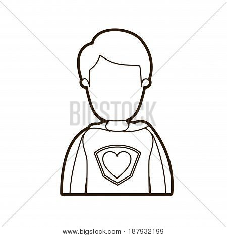 black thick contour caricature faceless half body super hero young male vector illustration