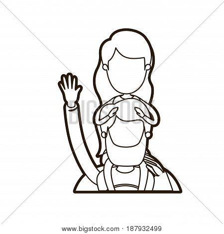 black thick contour caricature faceless half body super dad hero greeting with girl on his back vector illustration