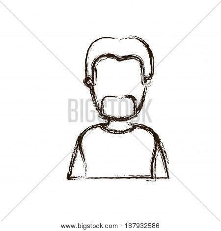 blurred silhouette caricature faceless half body bearded man with coat vector illustration