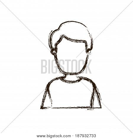 blurred silhouette caricature faceless half body man with coat and hairstyle vector illustration