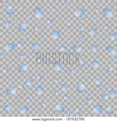 Realistic Water Drops On Transparent Background. Vector Illustration. Clean Drop Condensation Can Be